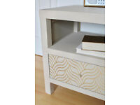 Pair of Cream & Gold Bedside Tables