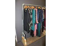 Industrial look metal/wood clothes rack
