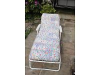 Reclining Sun lounger with padded cushion