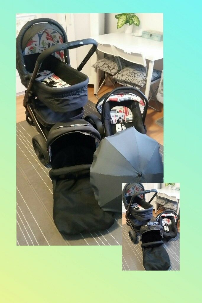 Pram Stroller Car Seat Trolley Buggy 3 In 1 Travel System