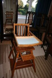 High Chair - - Vintage High Chair with Desk & Wheels