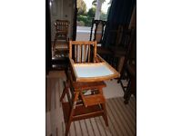 High Chair - - Vintage High Chair with Desk & Wheels