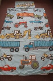 Boys Hiccups Machinery Shed Single Duvet Set (Digger, Tractor, Truck, Construction)