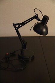 Desk lamp, black, flexible neck and adjustable head. Bulb included