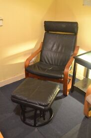 Black leather Ikea Poang chair