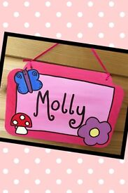 Handpainted personalised wooden name sign