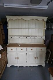 Pine dresser off white and pine coloured £225