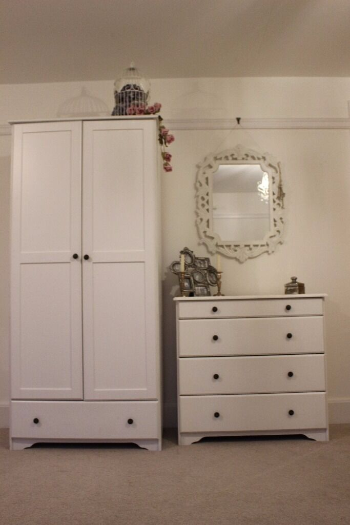 WHITE BEDROOM FURNITURE SET wardrobe, chest of drawersbedside tablein Norwich, NorfolkGumtree - White Wooden bedroom furniture in good condition Wardrobe Width 87cm Height 186cm Depth 50cm Chest of Drawers Width 88cm Height 83cm Depth 40cm Bedside Table Width 47cm Height 62cm Depth 40cm Offers around price considered Buyer to collect