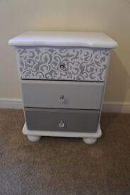 White & Grey, Hand painted pair of bedside tables (price for 2)
