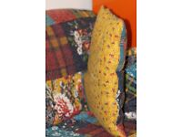 Floral throw/patchwork quilt and 2 cushions clearance
