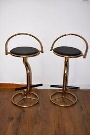 Brass Gold Coloured Vintage Retro Swivel Bar Stool
