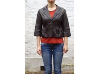Leather jacket with cropped sleeves