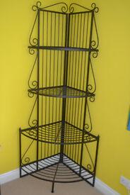 Black wrought iron shelving unit 4 shelves 2 metres high
