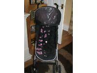 Silver Cross Pop Pink Butterflies Stroller/Pushchair with Rain Cover