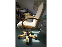 Cream faux-leather office chair with wooden arms, adjustable, £35