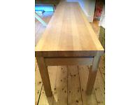 Habitat Massello large 4 seater solid oak and oak veneer bench and 8 seater habitat glass top table.
