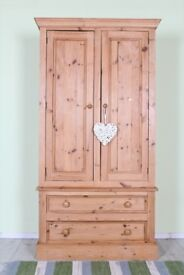 DELIVERY OPTIONS - QUALITY MADE RUSTIC PINE DOUBLE WARDROBE 2 DRAWERS WAXED FINISH