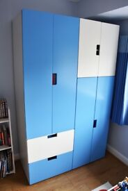 Kids wardrobe units, white and blue, excellent condition, like new, soft close doors.