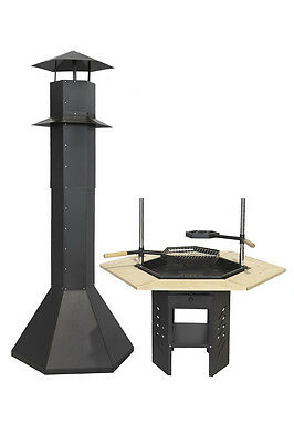 !!TOP LUXURY GRILL 6-Eckig  füralle Grillkota Kohlegrill BARBECUE BBQ Holzgrill ()