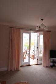 Majorca mushroom fully lined custom made curtains { french doors}