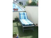Wooden Sun Lounger with wheels & adjustable back rest painted in 'trendy' Cuprinol Siver Copse Grey