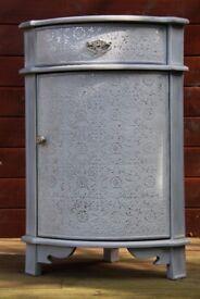 Pearl Grey Silver Embossed Corner Cabinet