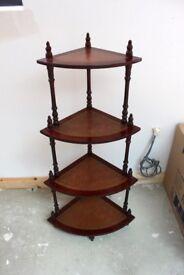 Vintage Style 4 tier corner mahogany coloured shelving / display unit
