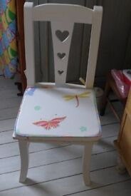 Upcycled Child's Wooden Vintage Nursery / Bedroom Chair with a cushion in Osborne & Little material.