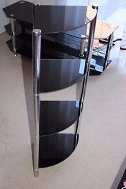 Glass Corner Shelf Shelving Unit Display Hall Lamp End Table Storage Furniture