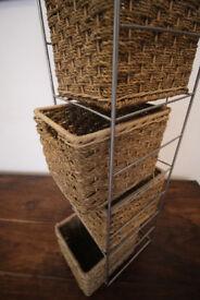 Rack of wicker baskets