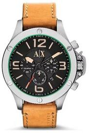 Armani Black Dial Tan Strap Chronograph Watch