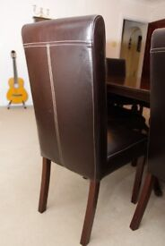 8 x Fine Leather Dining Room Chairs
