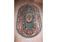 GREEN & CREAM TRADITIONAL THICK WOOL RUG - FRESHLY SHAMPOOED - GREAT CONDITION 5' X 3'