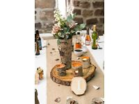 Rustic birch bark wooden tall winter wedding centrepiece vase x 8