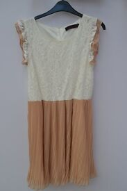 White/Camel Pleated Lace Dress.