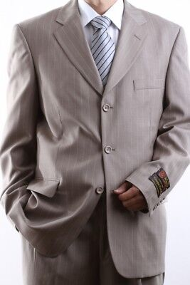 MEN'S THREE BUTTON TAN PINSTRIPE DRESS SUIT SIZE 40L, PL-64013-TAN