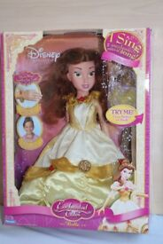 """Disney Princess Enchanted Tales 16"""" BELLE Doll - Sings - In Box - Excellent Cond"""