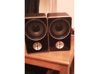 Two Black And Silver New Speakers.