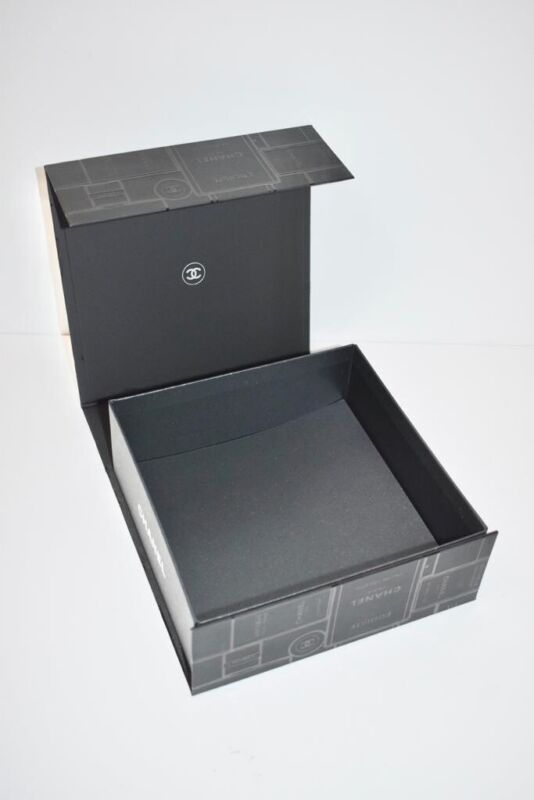 """CHANEL Magnetic 8.5"""" x 8.5"""" x 3.5"""" Gift Box In BLACK"""