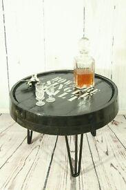 Bespoke rustic barrel top coffee table on hairpin legs