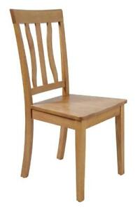 Two Sturdy Dining Chairs In Oak