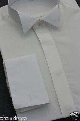 Frackhemd Smokinghemd Herrenhemd Kläppchenkragen Baumwolle ivory hellcreme