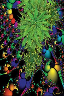 Marijuana Fractal Art Print Poster 12x18 inch