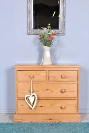 DELIVERY OPTIONS - LOVELY 2 OVER 2 WAXED PINE CHEST OF DRAWERS TONGUE & GROOVE