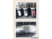 Bread bin and Tea, Sugar, Coffee canisters
