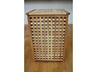 Large wooden laundry basket with removable fabric bag