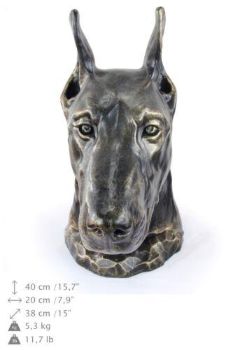 Doberman cropped, dog head urn made of Resin, ArtDog, USA