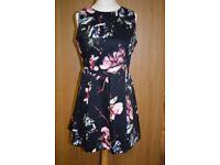 Ladies Warehouse Size 14 Cotton Black Skater Dress Pink/Blue Floral Pattern