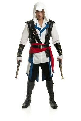 Mens or Boys CUTTHROAT PIRATE Assassin Deluxe Costume