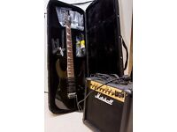 AS NEW Ibanez Gio guitar, accessories, case & Marshall amp.Played once!